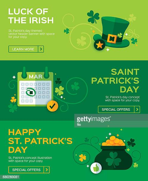 st. patrick's day banners - day stock illustrations