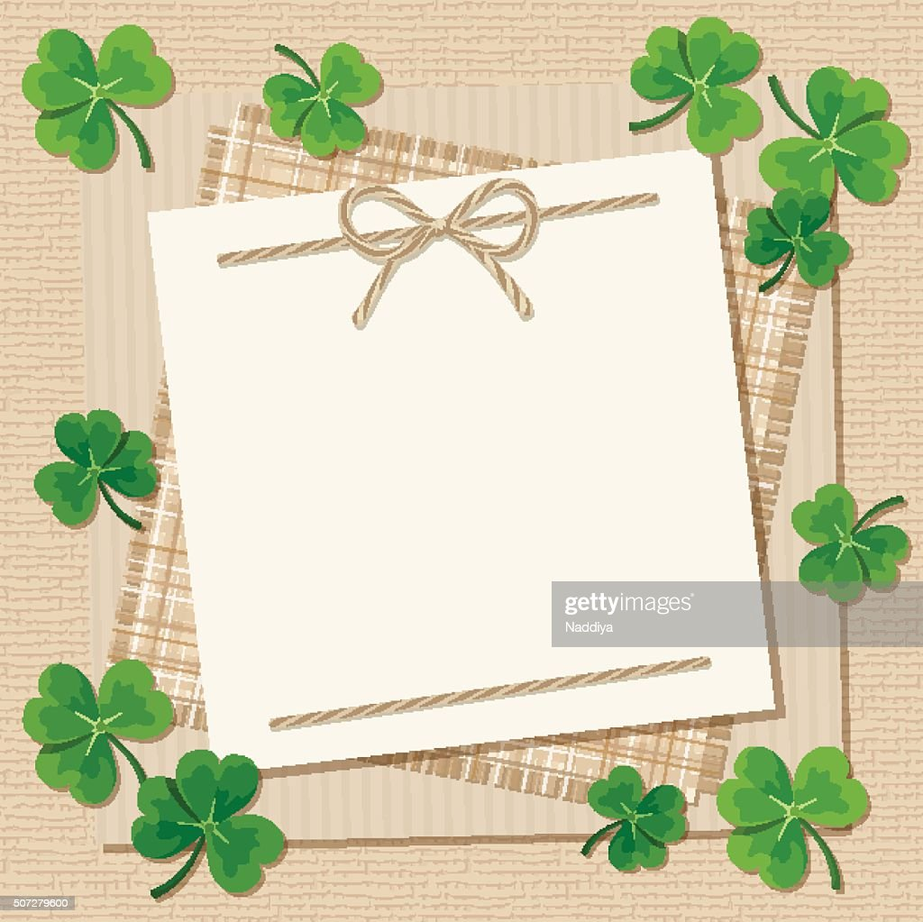 St. Patrick's day card with shamrock on a sacking background.