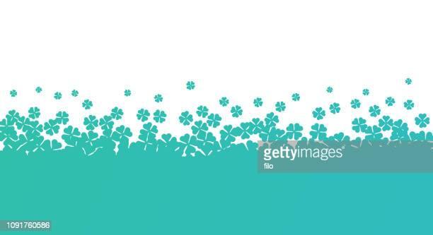 st. patrick's day clover border - good luck charm stock illustrations