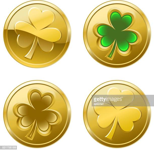st patrick's day clover coins - coin stock illustrations