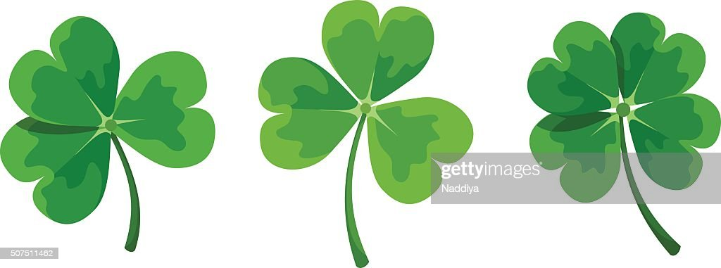 St. Patrick's day clovers (shamrock). Vector illustration.