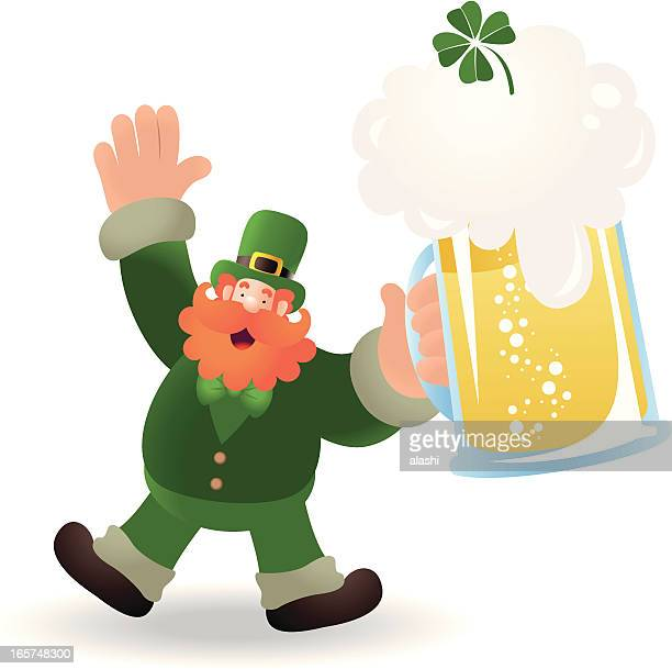 St. Patrick's day: Happy Leprechaun Holding A Beer
