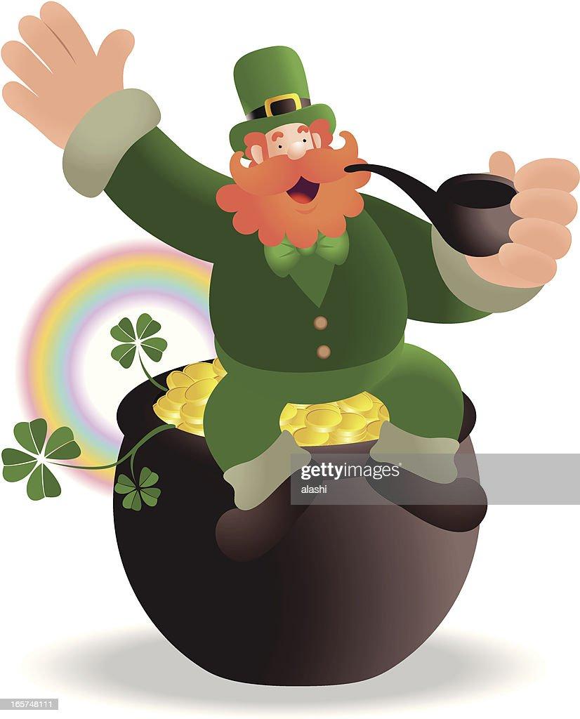 st patricks day happy leprechaun sitting on pot of gold vector art