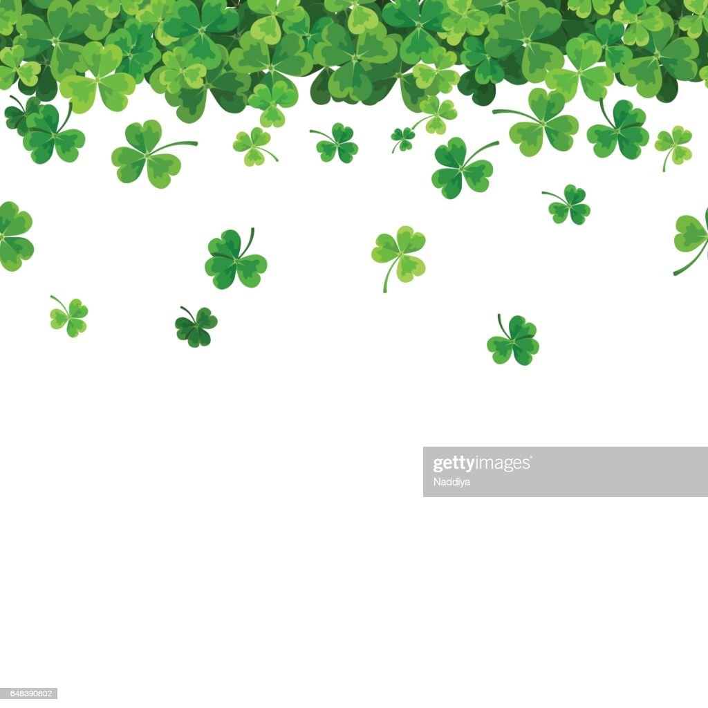 St. Patrick's day horizontal seamless background with shamrock. Vector illustration.