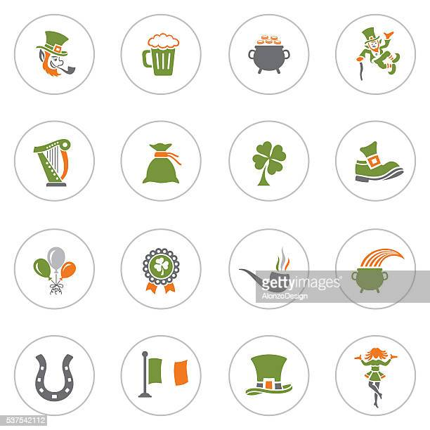 st. patrick's day icon set - celtic music stock illustrations, clip art, cartoons, & icons