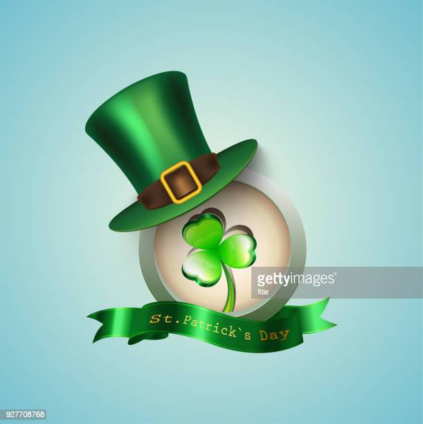 St Patrick's Day ikonen med Green Hat och klöver