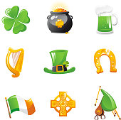 St Patrick's Day Icons Clover Gold Pot beer Harp Irish