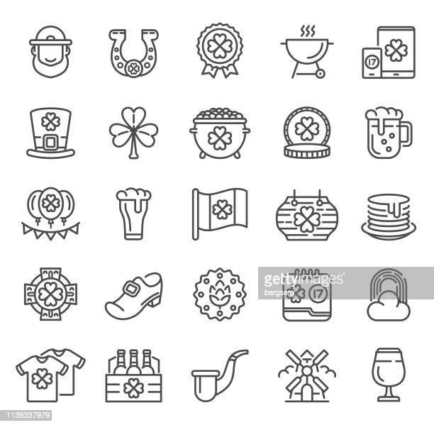 st. patrick's day icons - lager stock illustrations, clip art, cartoons, & icons