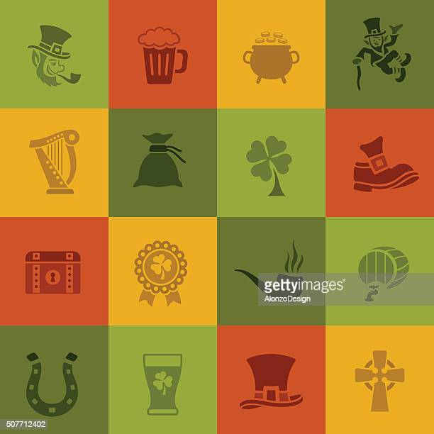 st. patrick's day icons - celtic music stock illustrations, clip art, cartoons, & icons