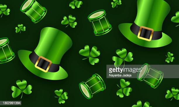 st. patrick's day  leaves decorated on green background. stock illustration - heading the ball stock illustrations