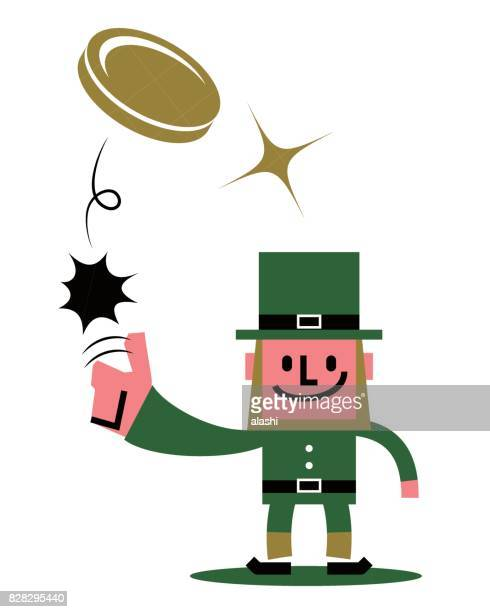 st. patrick's day leprechaun character standing flipping a coin (toss up gold currency) - flipping a coin stock illustrations, clip art, cartoons, & icons