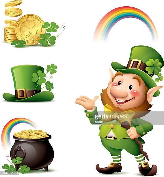 st patrick's day - leprechaun set - st. patrick's day stock illustrations, clip art, cartoons, & icons