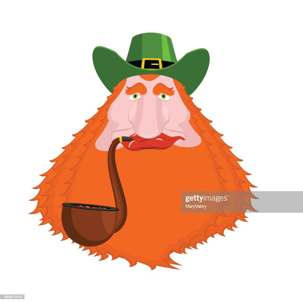 a083ad4e8719f St. Patrick s Day Leprechaun with red beard and pipe. Green hat. Magic  Dwarf in Ireland. national holiday March 17 . Traditional Irish Festival