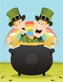 St. Patrick's Day Leprechauns in pot of gold