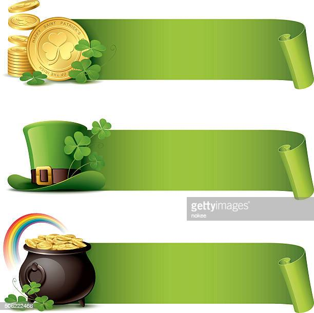 st patrick's day - paper curl banner set - st patrick's day stock illustrations