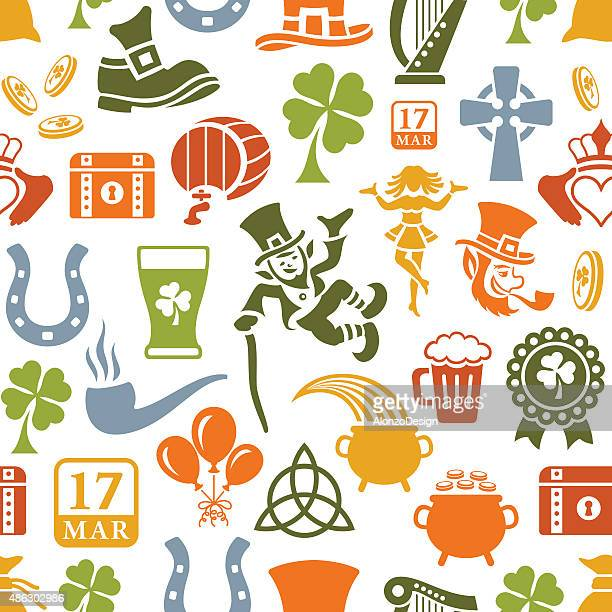 st. patrick's day pattern - celtic music stock illustrations, clip art, cartoons, & icons