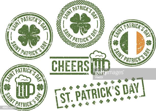 st. patrick's day - rubber stamps - st. patrick's day stock illustrations, clip art, cartoons, & icons