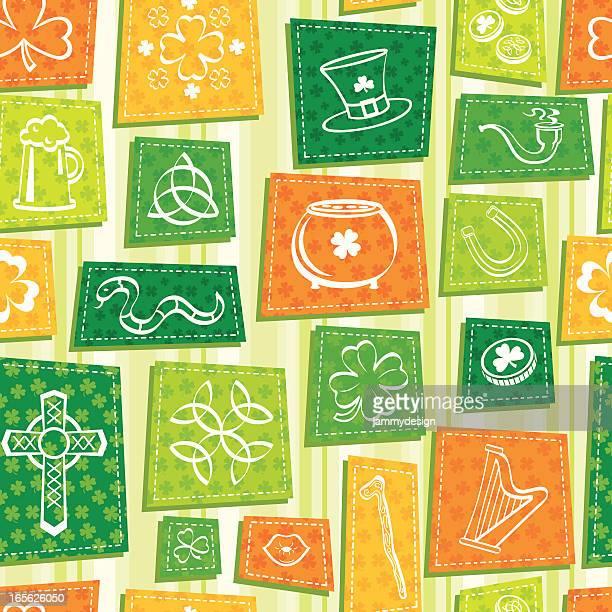 ilustraciones, imágenes clip art, dibujos animados e iconos de stock de st. patrick's day patrón perfecto. - patchwork