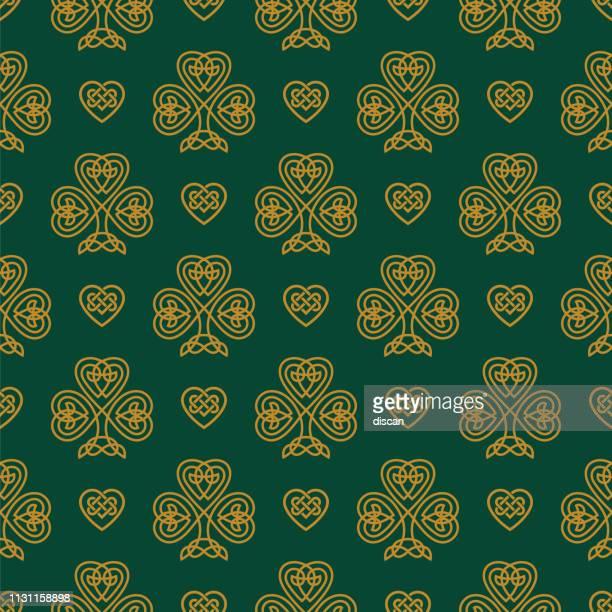 st. patrick's day seamless pattern with golden shamrock. - irish culture stock illustrations
