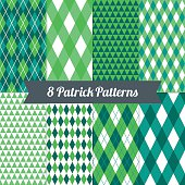 St. Patrick's Day seamless patterns with Harlequin, Argyle and Triangles