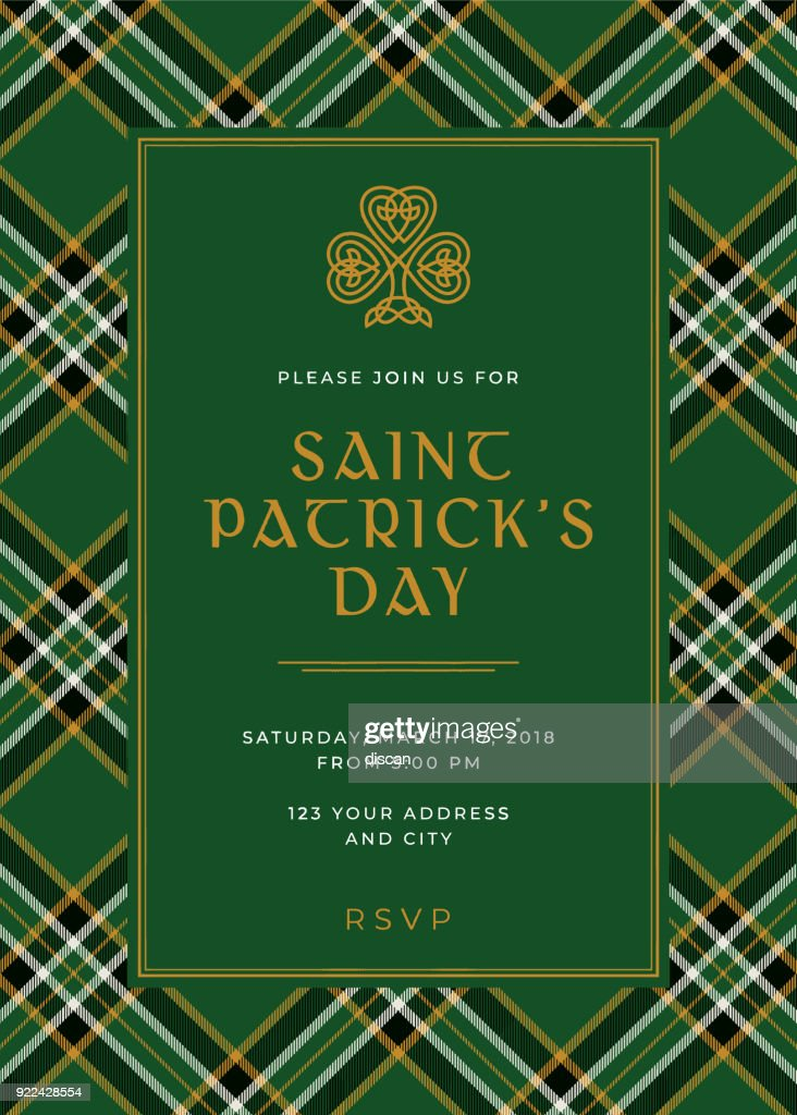St Patricks Day Special Party Invitation Template Vector Art | Getty ...