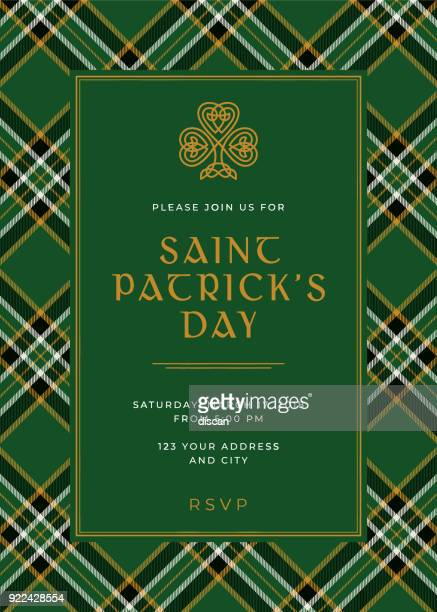 st. patrick's day special party invitation template - day stock illustrations