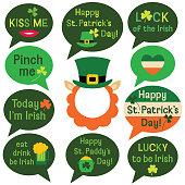 St. Patricks Day speech bubbles set