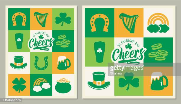 st patrick's day square greeting cards - green hat stock illustrations