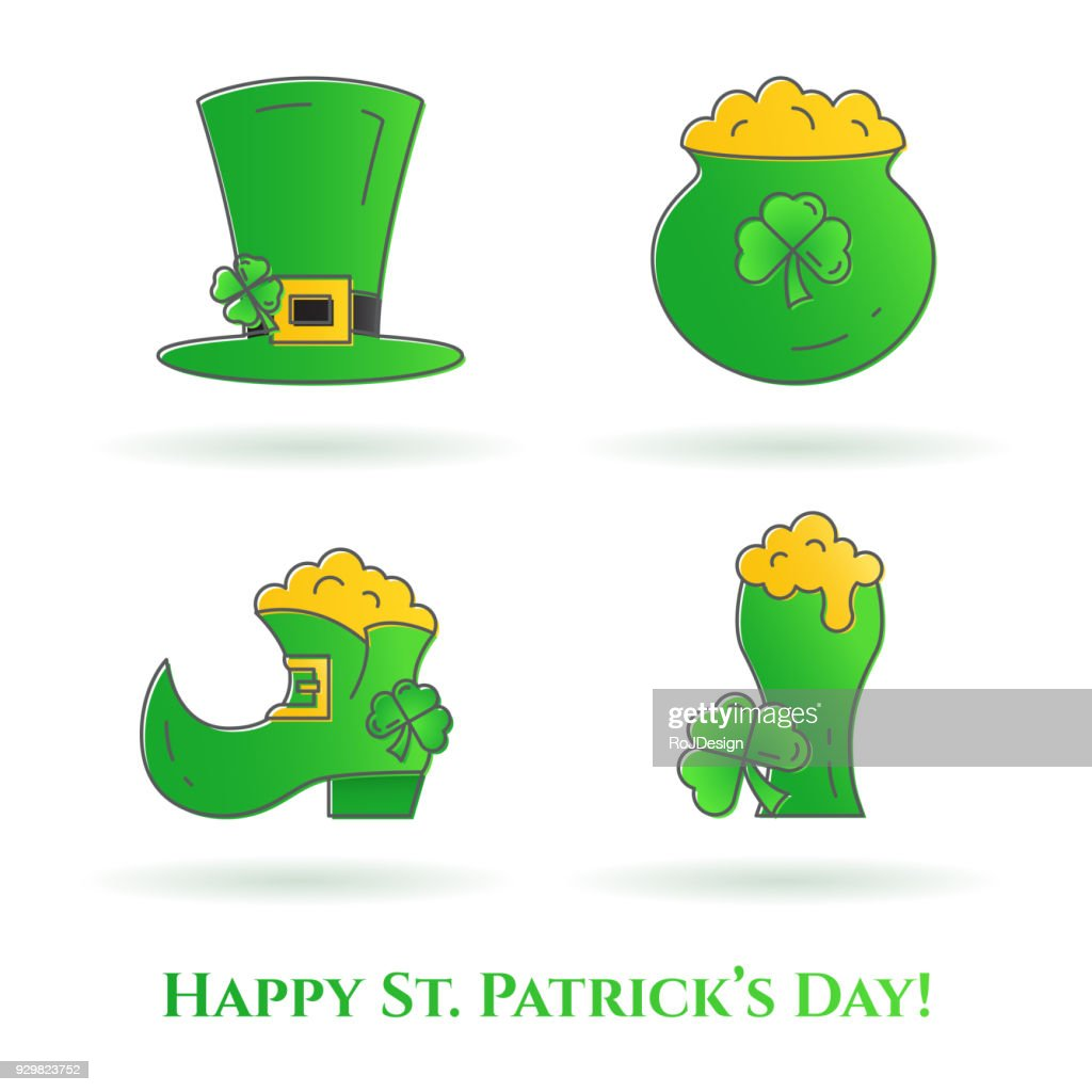 St. Patrick's Day theme thin line color icons. Set of elements of shamrock, leprechaun hat, shoes, beard, gold and other holiday related pictograms. Vector illustration. Editable stroke