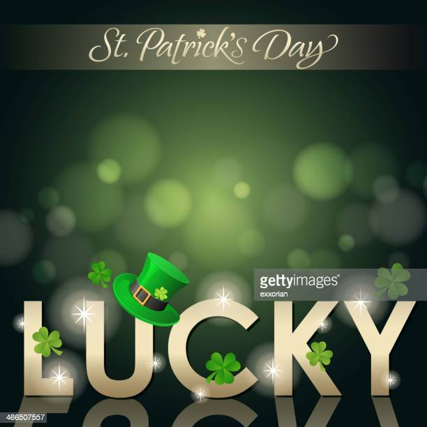 St Patrick's Day vector art with lights and word Lucky