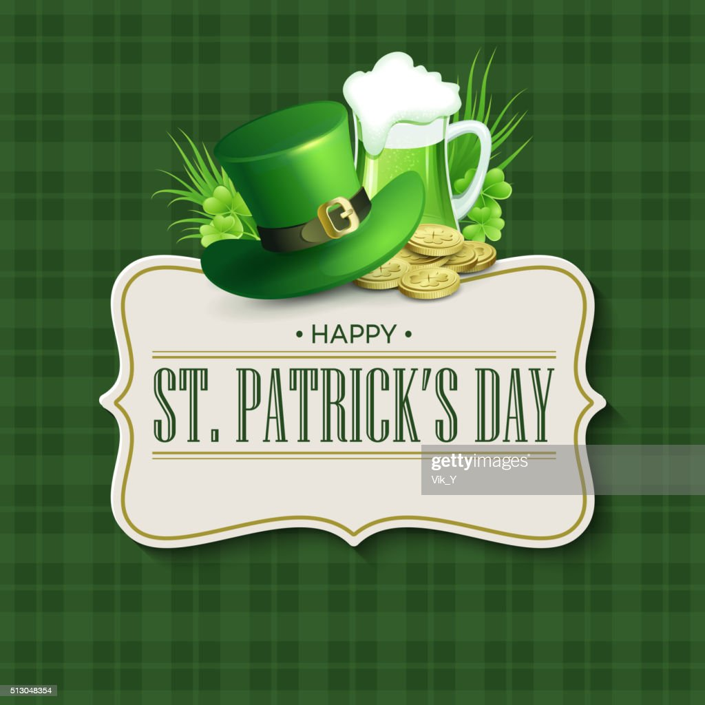 St. Patricks Day vintage holiday badge design. Vector illustration