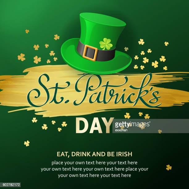 st. patrick's leprechaun invitation - st. patrick's day stock illustrations, clip art, cartoons, & icons