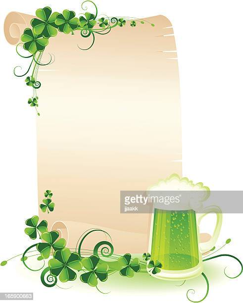 st. patrick's scroll with green beer - celtic music stock illustrations, clip art, cartoons, & icons