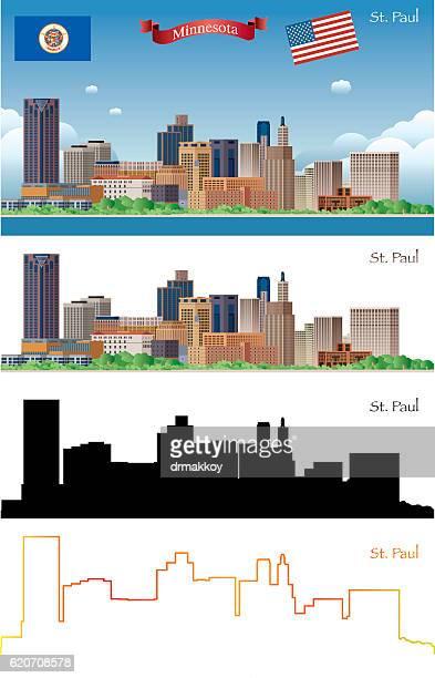 st paul skyline - st. paul minnesota stock illustrations