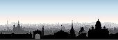 St. Petersburg city skyline, Russia. Tourist landmark silhouette. Russian famous place in Saint-Petersburg panoramic view