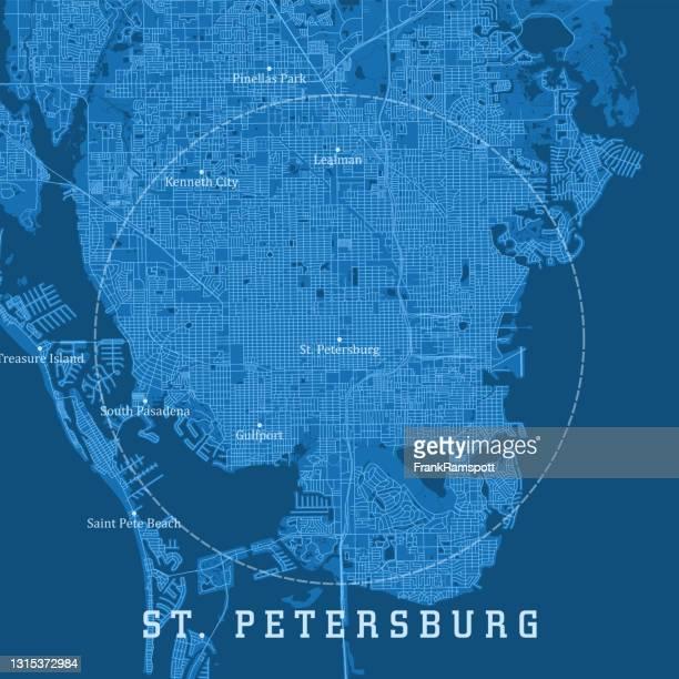 サンクトペテルブルクfl都市ベクトルロードマップ青いテキスト - フロリダ セントピーターズバーグ点のイラスト素材/クリップアート素材/マンガ素材/アイコン素材