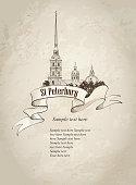 St. Petersburg landmark, Russia. Old paper background