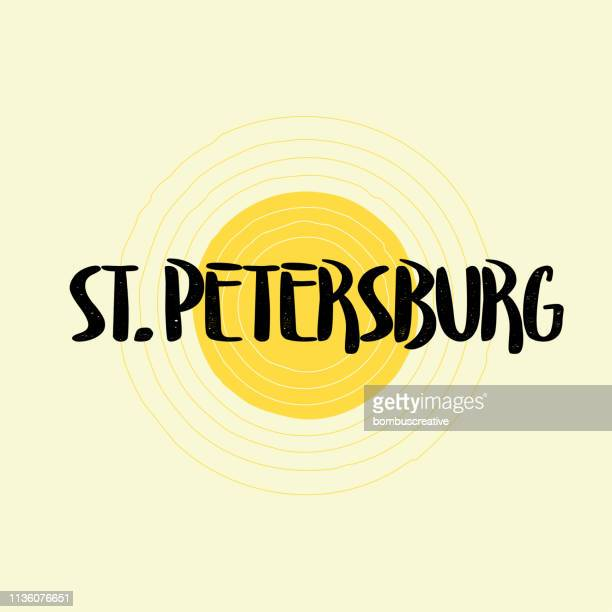 st. petersburg lettering design - st. petersburg florida stock illustrations