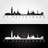 St. Petersburg skyline and landmarks silhouette, black and white design, vector illustration.
