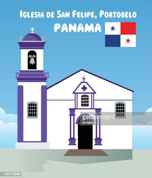 st. philip's church, portobelo - chapel stock illustrations