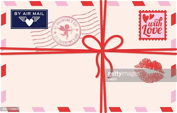 ilustraciones, imágenes clip art, dibujos animados e iconos de stock de st. valentine's day-correo aéreo carta de amor - carta de amor