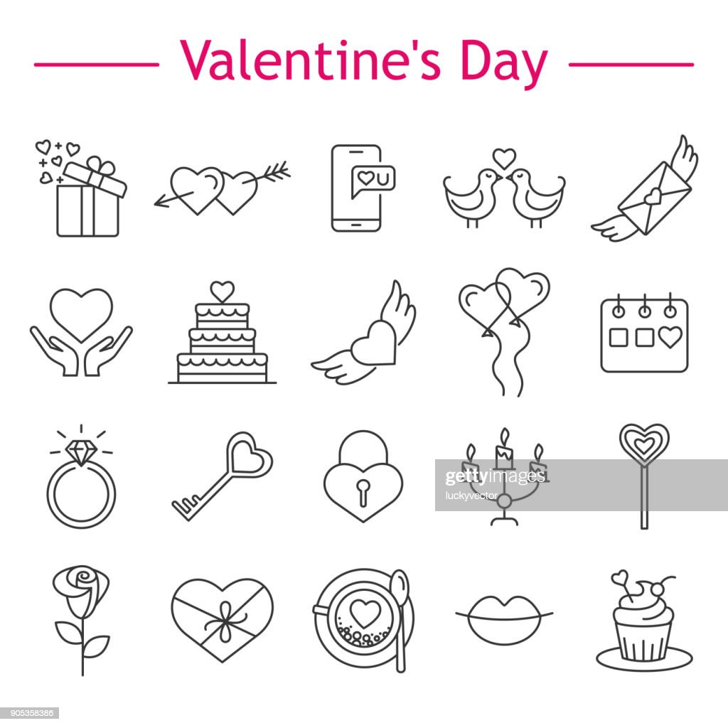 St. Valentine's Day icons.