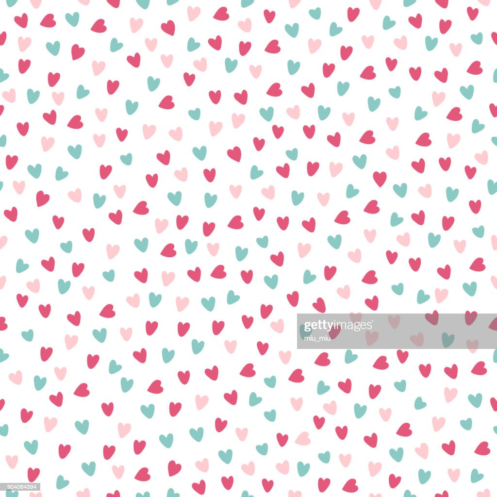 St. Valentine's Day seamless pattern with pink and blue hearts