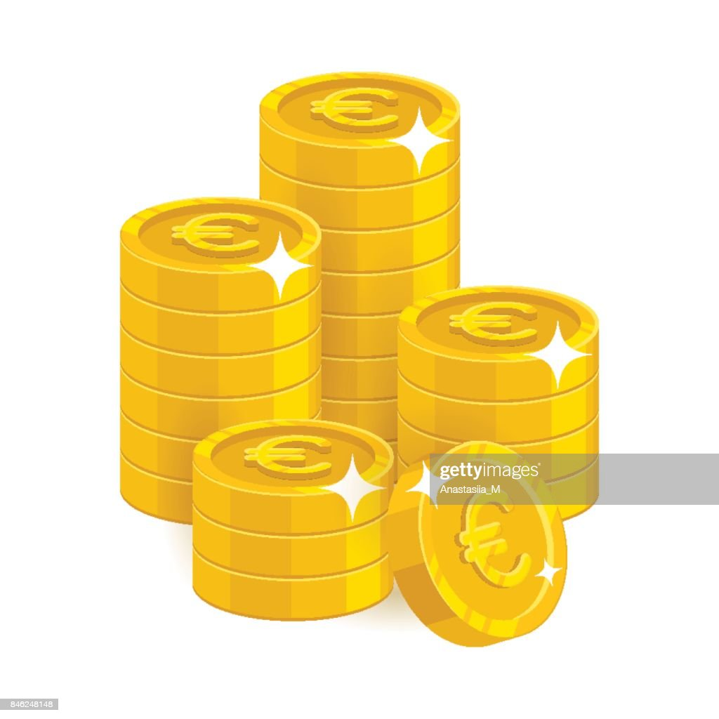 Stack gold euro isolated cartoon