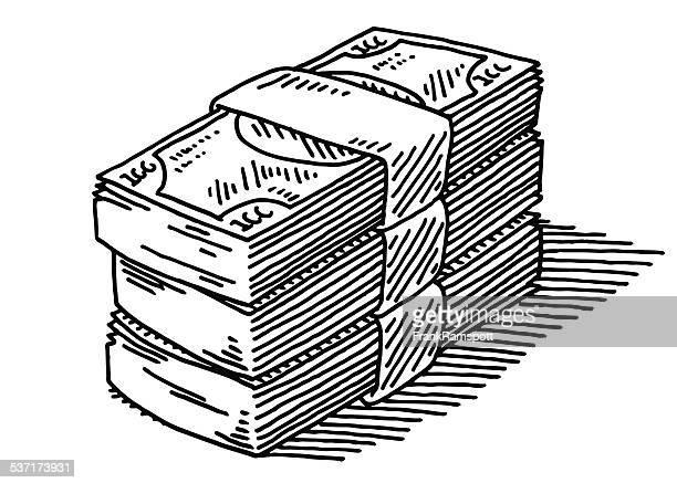 ilustraciones, imágenes clip art, dibujos animados e iconos de stock de pila de billetes de banco de dibujo - fajo de billetes