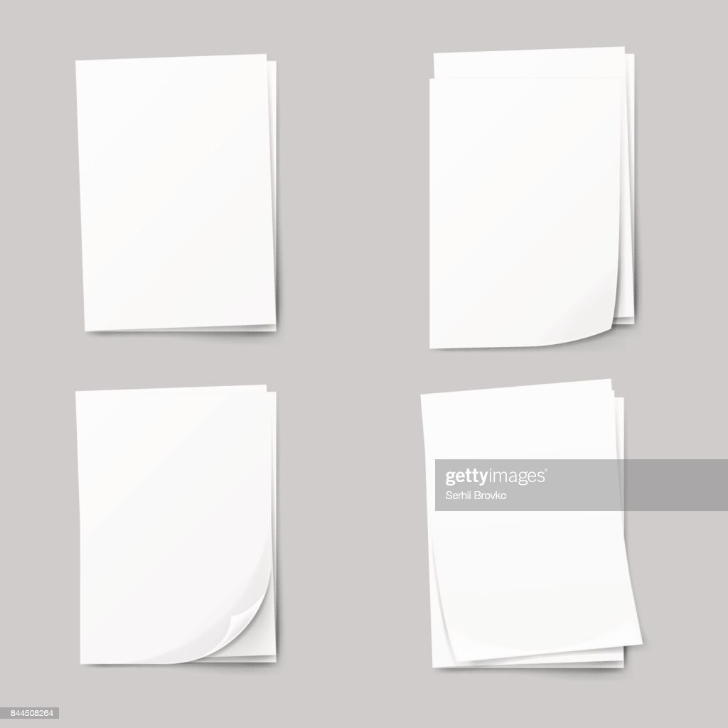 Stack of blank papers set. Realistic Collection white sheet of paper.