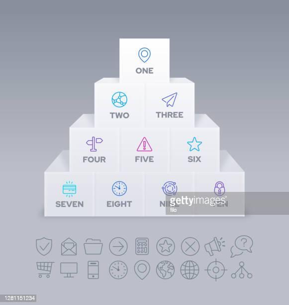 スタック オブ ブロック インフォグラフィック デザイン - 数字の10点のイラスト素材/クリップアート素材/マンガ素材/アイコン素材