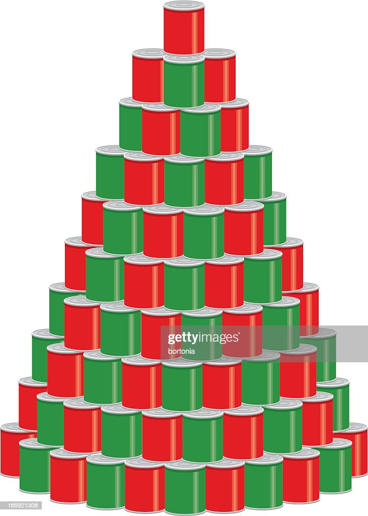 Stack Of Canned Food As A Christmas Tree Vector Art ...