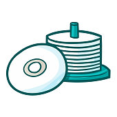 stack of CDs in cartoon style