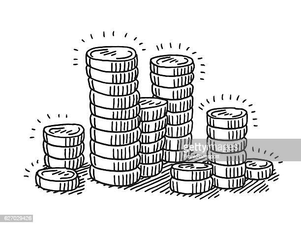 stack of coins money drawing - coin stock illustrations